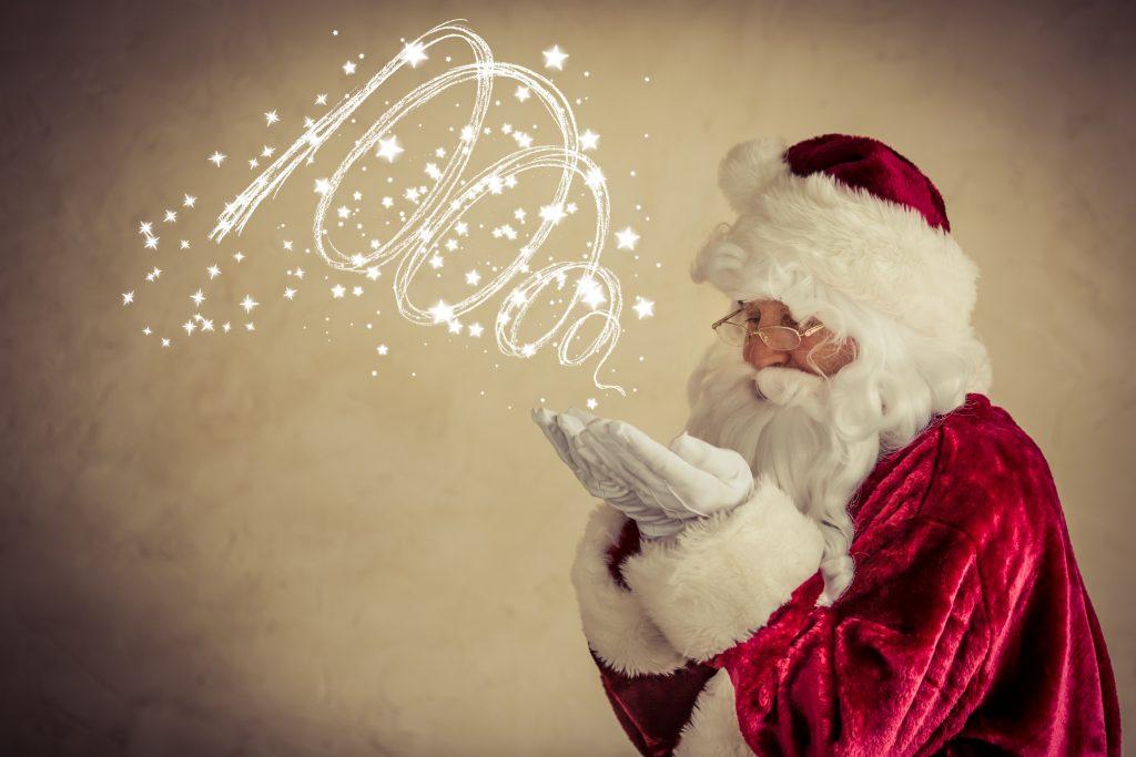 Santa Claus senior man against grunge background. Xmas holiday concept