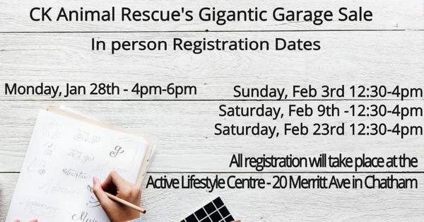 CK Animal Rescue Giant Garage Sale In Person Reistration