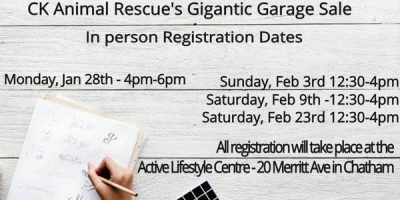 CK Animal Rescue's Gigantic Yard Sale in person Registration Dates