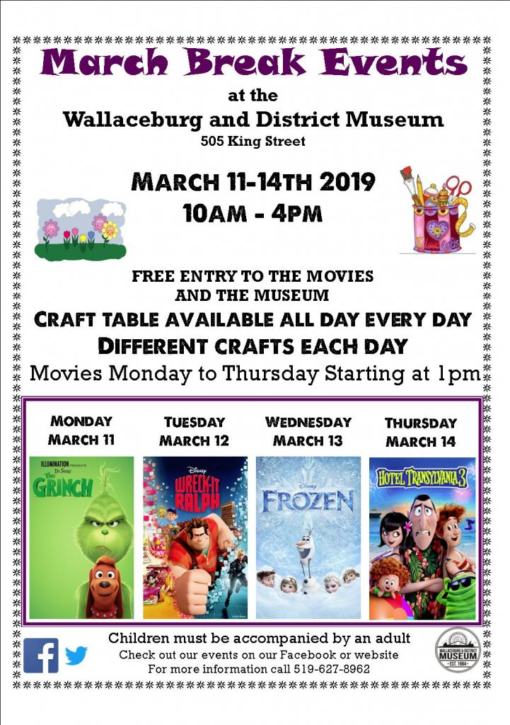 Free Crafts and Movies At the Wallaceburg Museum