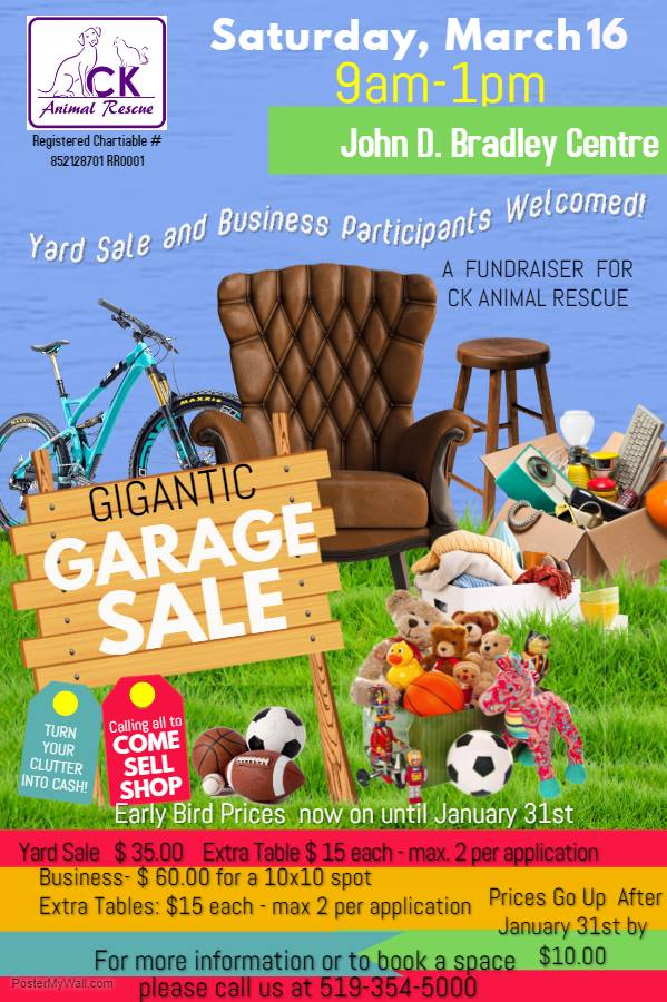 Gigantic Garage sale fundraiser for CK Animal Rescue
