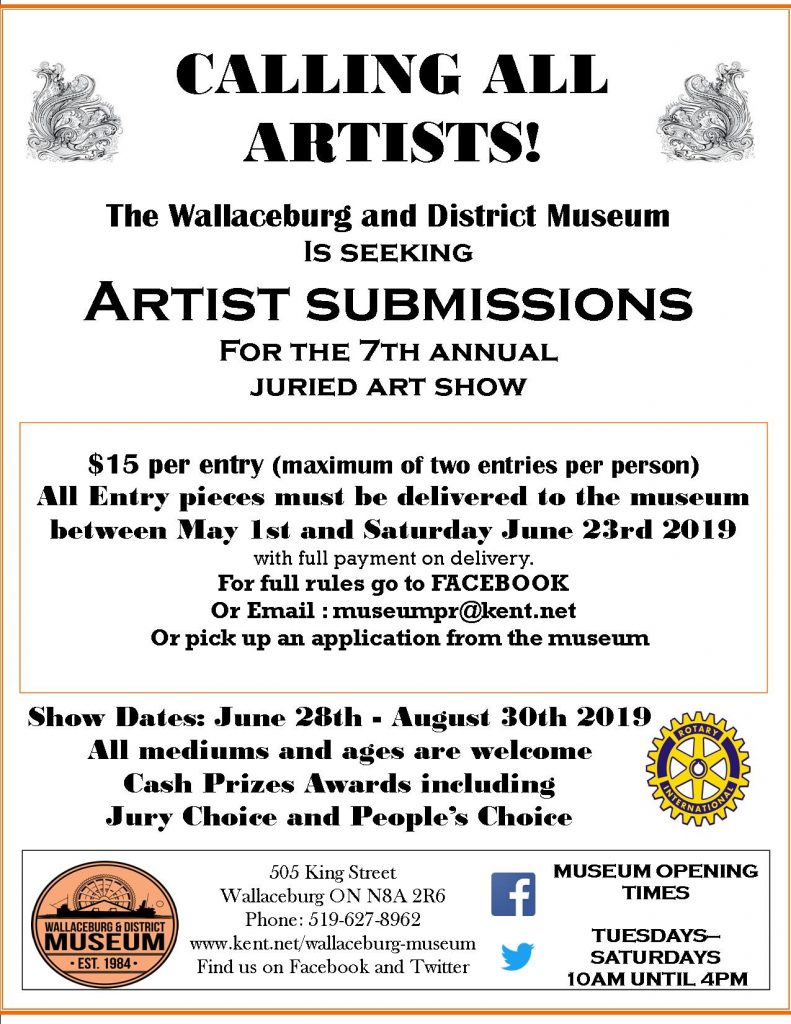 The Wallaceburg and District Museum is Seeking Art Submissions for Our 7th Annual Juried Art Show