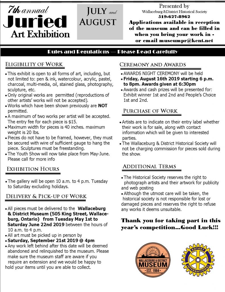 7th Annual Juired ART Show Wallaceburg Museum