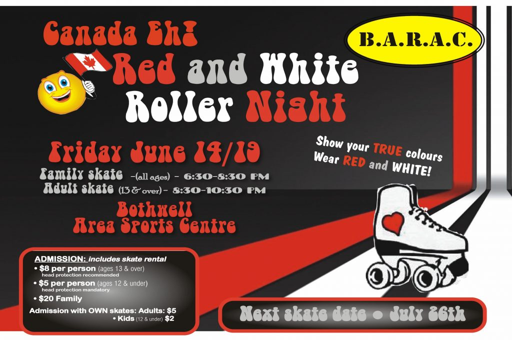 Canada Eh! Red and White Roller Night